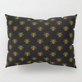 Foil Bees on Black Gold Metallic Faux Foil Photo-Effect Bees Pillow Sham