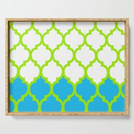 Moroccan Green and Blue Serving Tray