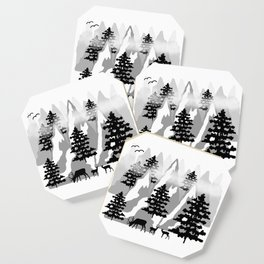 Woodland Rustic Deer Winter Mountain Forest Trees Coaster