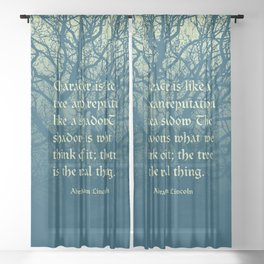 Tree of Character VINTAGE BLUE / Deep thoughts by Abe Lincoln Sheer Curtain