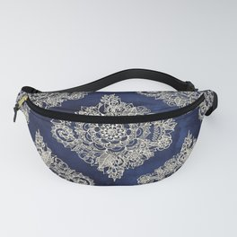Cream Floral Moroccan Pattern on Deep Indigo Ink Fanny Pack