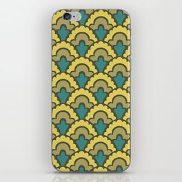 Fan Pattern Yellow Teal and Olive Green 308 iPhone Skin