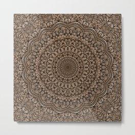 Brown colors mandala Sophisticated ornament Metal Print