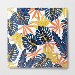 Abstract seamless tropical pattern with bright plants and leaves on a light background. Tropical botanical. Seamless pattern with colorful leaves and plants. Trendy summer Hawaii print. Metal Print