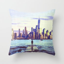 New York City Skyline Views and Vibes Throw Pillow