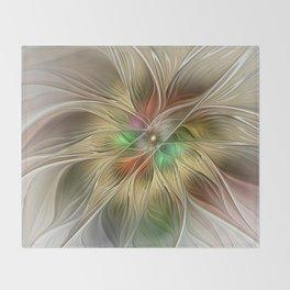 Golden Flourish, Abstract Fractal Art Throw Blanket