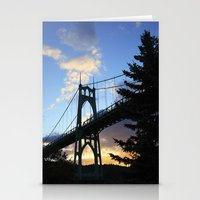 marc johns Stationery Cards featuring St Johns Bridge. by DAVID BIRKBECK