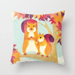 Shanti Sparrow: Jimmy and Kit the Squirrels Throw Pillow