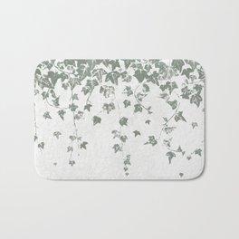 Gray Green Trailing Ivy Leaf Print Bath Mat