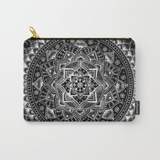 White Flower Mandala on Black Carry-All Pouch