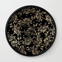 Elegant black faux gold polka dots vintage floral Wall Clock