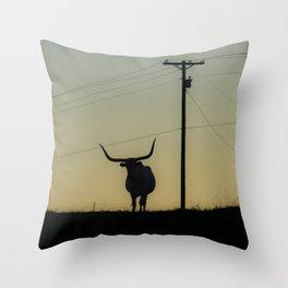 Longhorn at Sunset Throw Pillow