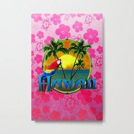 Hawaii Sunset Pink Honu Metal Print