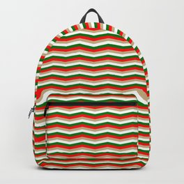 Red Green White and Gold Christmas Wavy Chevron Stripes Backpack