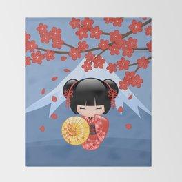 Japanese Red Sakura Kokeshi Doll on Blue Throw Blanket