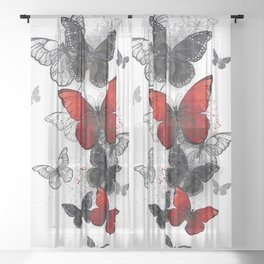 Flying Black and Red Morpho Butterflies Sheer Curtain