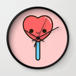 Cute heart lollipop Wall Clock
