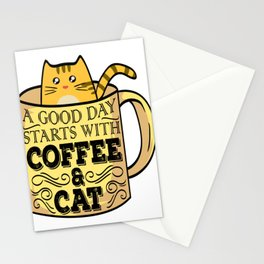 """Great Coffee T-shirt For Caffeine Lovers """"A Good Day Starts With Coffee & Cat"""" T-shirt Design Stationery Cards"""