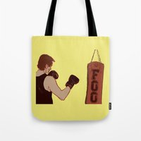 foo fighters Tote Bags featuring Foo Fighter by Kramcox