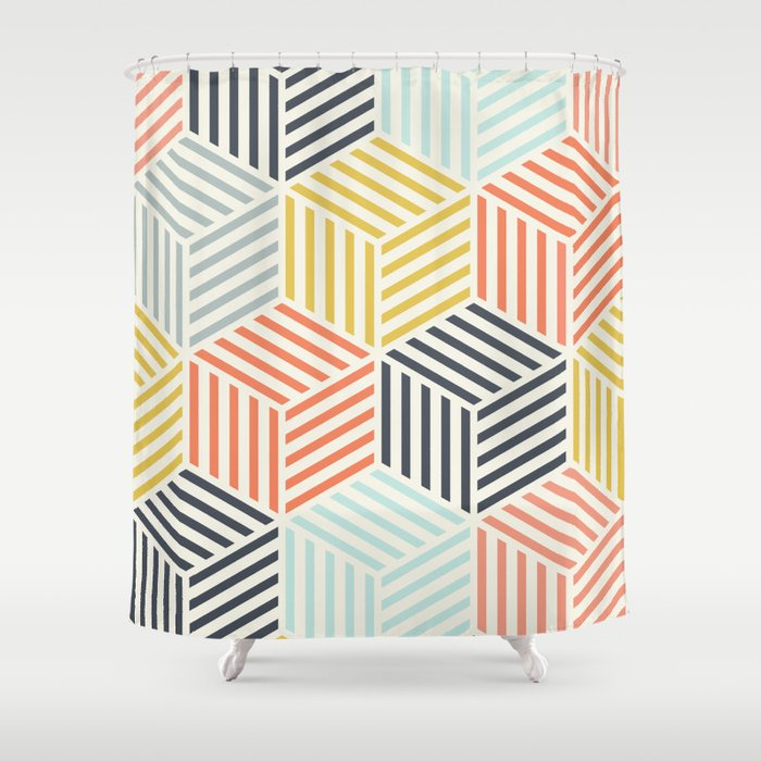 Colorful Geometric Pattern Shower Curtain