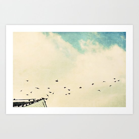 up on the roof top Art Print