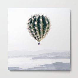 Flying Cactus Metal Print