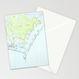 Cape Lookout National Seashore & Morehead City Map Stationery Cards