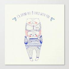 nine lives cat Canvas Print