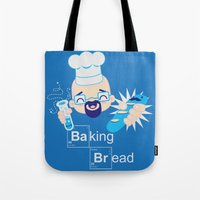 baking Tote Bags featuring Baking Bread Kawaii by DarkChoocoolat