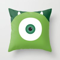 pixar Throw Pillows featuring PIXAR CHARACTER POSTER - Mike Wazowski - Monsters, Inc. by Marco Calignano