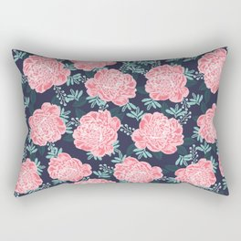 Peony Flowers navy pink and white modern colors for office home or college dorm decor Rectangular Pillow