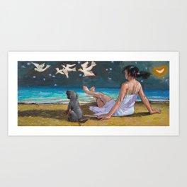 my wife at the beach Art Print