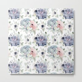 Succulents Blue + Rose Pink on White Metal Print