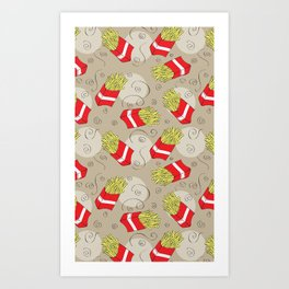 French Fries - Fries - Chips - Fast Food - Pattern Art Print