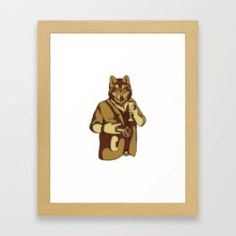 Sophisticated Wolf - having a drink Framed Art Print