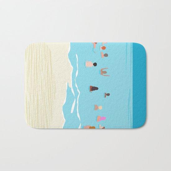 Stoked - memphis throwback retro neon pop art illustration socal cali beach surfing swimming sea Bath Mat