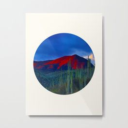 Mid Century Modern Round Circle Photo Red Mountain Sunset With Field of Green Cactus Metal Print