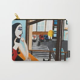 Girl With Coffee And Cat Carry-All Pouch