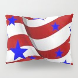 PATRIOTIC JULY 4TH BLUE STARS DECORATIVE ART Pillow Sham