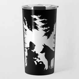 Black Silhouette Red Riding Hood Wolf in Woods Trees Travel Mug