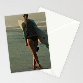 Wave Series Photograph No. 30 - Female Surfer at Sunset Stationery Cards