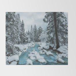 Blue Winter in Yosemite Throw Blanket