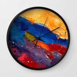 Present In Spirit Abstract Blue Yellow Wall Clock