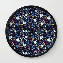 Ditsy Folk Dark Floral Pattern Wall Clock