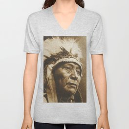 Chief Running Antelope - Native American Sioux Leader Unisex V-Neck