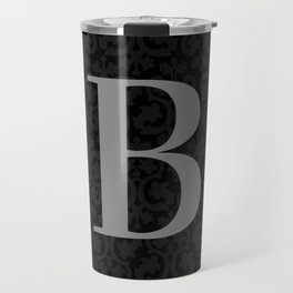 Modern Black Grey Damask Letter B Monogram Travel Mug