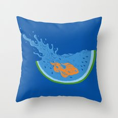 Watermelon Dive Throw Pillow