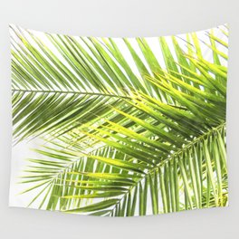 Palm leaves tropical illustration Wall Tapestry