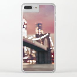 New York City Brooklyn Bridge Lights Clear iPhone Case