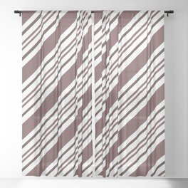 Pantone Red Pear and White Thick and Thin Angled Lines - Diagonal Stripes Sheer Curtain
